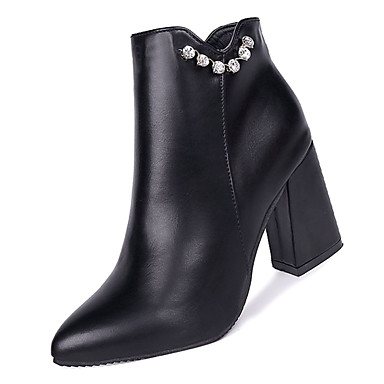 Women's Minimalism Fashion Boots PU(Polyurethane) Fall Minimalism Women's Boots Chunky Heel Pointed Toe Booties / Ankle Boots Black / Red 0b746a