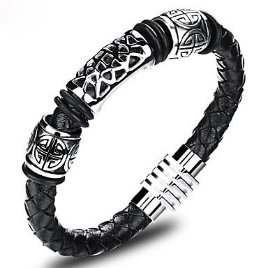 voordelige Herensieraden-Heren Lederen armbanden loom Bracelet Cut Out Magnetisch Geloof Vintage Chinoiserie aitoa nahkaa Armband sieraden Zwart Voor Verjaardag Straat / Titanium Staal / Platina Verguld
