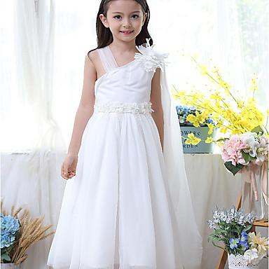 baratos Vestidos para Meninas-Infantil Para Meninas Básico Diário Sólido Patchwork Sem Manga Médio Vestido Branco / Algodão