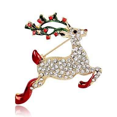 voordelige Dames Sieraden-Dames Broches Klassiek 3D Elk Dier Dames Klassiek Vintage Strass Verguld Broche Sieraden Goud Voor Kerstmis Festival