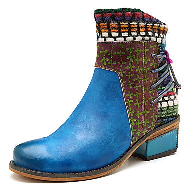 Women's Bootie Nappa Leather Boots Fall & Winter Casual Boots Leather Chunky Heel Booties / Ankle Boots Blue 791096