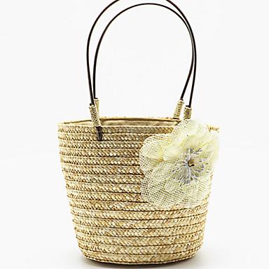 billige Tasker med hank-Dame Blomst Tote Stråtaske Strå Beige