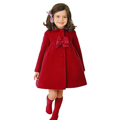 baratos Jaquetas & Casacos para Meninas-Infantil Para Meninas Vintage Moda de Rua Natal Diário Escola Sólido Laço Manga Longa Padrão Algodão Jaqueta & Casaco Azul