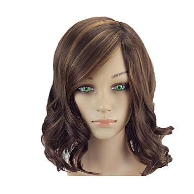 人工毛ウィッグ 女性用 ウェーブ ブラウン ボブスタイル・ヘアカット 合成 14 インチ ソフト / 耐熱 / 女性 ブラウン かつら ミッドレングス キャップレス コッパーブラウン hairjoy