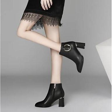 Femme Fashion Boots Cuir Cuir Cuir Nappa Automne Bottes Talon Bottier Bout fermé Bottine / Demi Botte Noir 9d2c2b