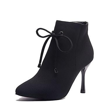 Femme Fashion Boots Tissu élastique Automne Décontracté Bottes Talon  Aiguille Bottine   Demi Botte Noeud Noir 9c9d9dddec83