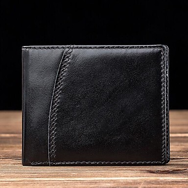 Men's Bags Cowhide Wallet Solid Color Black / Coffee