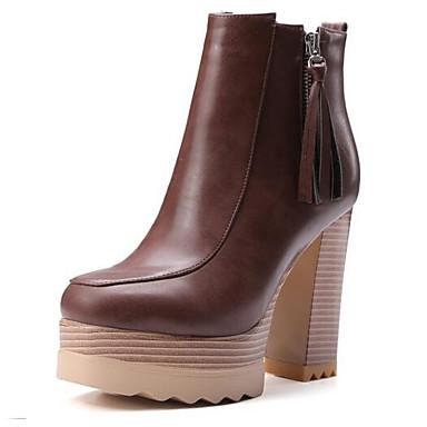 povoljno Ženske čizme-Žene Fashion Boots Mikrovlakana Jesen Čizme Kockasta potpetica Zatvorena Toe Čizme gležnjače / do gležnja Braon / Deva / Žutomrk