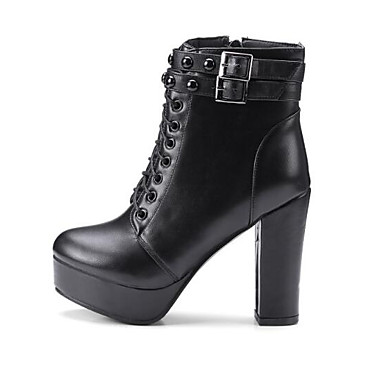 c07d8cb651ca Dame Fashion Boots PU Efterår Støvler Kraftige Hæle Lukket Tå Ankelstøvler  Sort   Mørkebrun