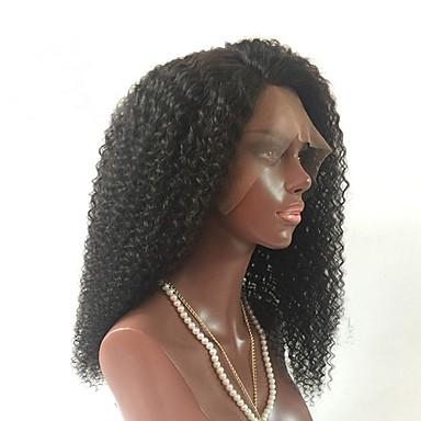 billige Blondeparykker med menneskehår-Remy Menneskehår Blonde Forside Parykk Lagvis frisyre Rihanna stil Brasiliansk hår Kinky Curly Svart Parykk 180% Hair Tetthet med baby hår Naturlig hårlinje Afroamerikansk parykk Til fargede kvinner
