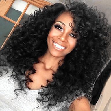 billige Blondeparykker med menneskehår-Ekte hår Blonde Forside Parykk stil Brasiliansk hår Kinky Curly Parykk 130% Hair Tetthet med baby hår Naturlig hårlinje Afroamerikansk parykk 100 % håndknyttet Dame Kort Medium Lengde Lang