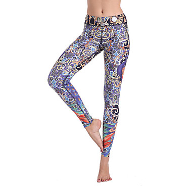 e82c43135a Women s Elastic Waistband Yoga Pants Purple Sports Bohemian Tights Bottoms  Zumba Dance Gym Workout Activewear Breathable