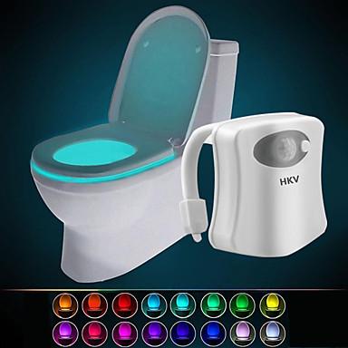 hkv® 16 színes vezeték nélküli infravörös aktivált mozgásérzékelő pir led wc-i lámpa akkumulátorral működő éjszakai fény otthoni fürdőszoba