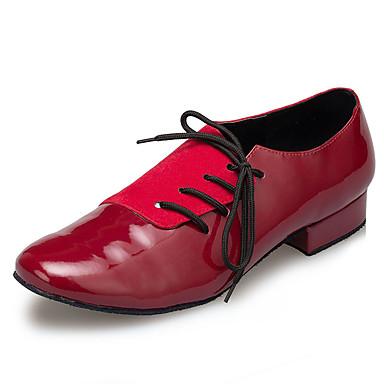 baratos Shall We® Sapatos de Dança-Homens Sapatos de Dança Couro Envernizado Sapatos de Dança Moderna Recortes Têni Salto Grosso Vermelho Escuro