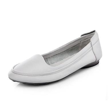 e52062dfaf8b5 نسائي أحذية الراحة Leather نابا الربيع اخفاف كعب مسطخ أسود   رمادي   بني  فاتح