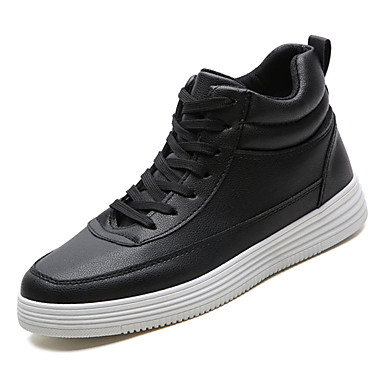 Men's Comfort Shoes PU(Polyurethane) Fall Casual Sneakers Non-slipping White / Black