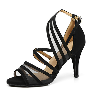 Žene Plesne cipele Brušena koža Cipele za latino plesove Štikle Tanka visoka peta Crn / Bronza / Crvena / Seksi blagdanski kostimi / Vježbanje