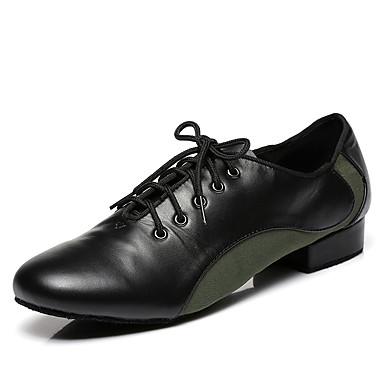 baratos Shall We® Sapatos de Dança-Homens Sapatos de Dança Camurça / Pele Sapatos de Dança Moderna Rendado / Recortes Têni Salto Grosso Vermelho Escuro / Verde Tropa