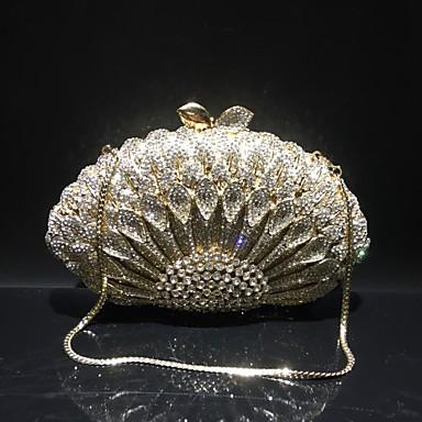 billige Vesker-Dame Krystalldetaljer / Uthult Legering Aftenveske Rhinestone Crystal Evening Bags Helfarge Gull / Sølv / Høst vinter