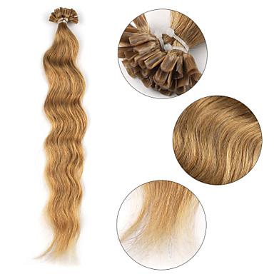 voordelige Extensions van echt haar-Samensmelten / U-tip Extensions van echt haar Gekruld Echt haar Extentions van mensenhaar Dames Blonde