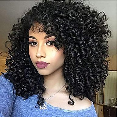 povoljno Perike i ekstenzije-Remy kosa Full Lace Lace Front Perika Asimetrična frizura Rihanna stil Brazilska kosa Afro Kinky Kinky Curly Crna Perika 130% 150% 180% Gustoća kose s dječjom kosom Prilagodljiv Jednostavan dressing