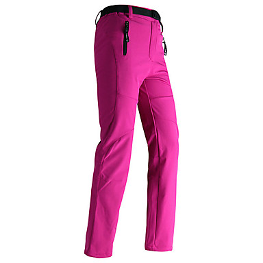 Women's Hiking Pants Outdoor Windproof Rain Waterproof Breathability Winter Fleece Softshell Pants / Trousers Skiing Fishing Hiking Green Grey Burgundy XL XXL XXXL / Stretchy