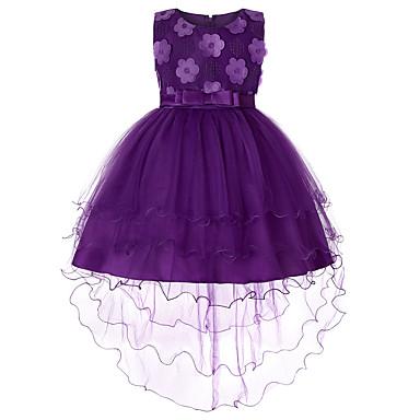 رخيصةأون ملابس الأميرات-فستان غير متماثل بدون كم لون سادة مناسب للحفلات / مناسب للعطلات رياضي Active / حلو للفتيات أطفال / طفل صغير