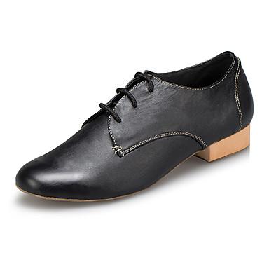 baratos Shall We® Sapatos de Dança-Homens Sapatos de Dança Pele Sapatos de Dança Moderna Recortes Têni Salto Grosso Preto