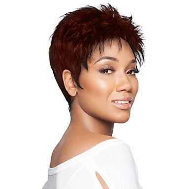 povoljno Perike i ekstenzije-Ljudski kose bez kaplama Ljudska kosa Kovrčav Kratke frizure 2019 Berry Stil Capless Perika