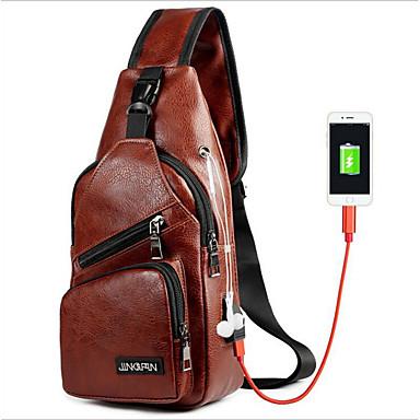 cheap Bags-Men's Zipper Sling Shoulder Bag Waterproof PU(Polyurethane) Black / Brown / Dark Brown