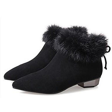 300663abf60 Women s Bootie Faux Fur   PU(Polyurethane) Fall Minimalism Boots Low Heel Pointed  Toe Booties   Ankle Boots Black   Almond