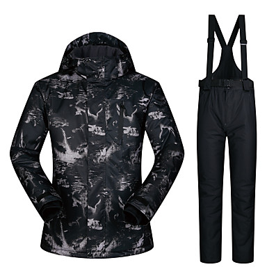 ba6cbf1ed3 Men s Ski Jacket with Pants Waterproof Thermal   Warm Windproof Skiing  Camping   Hiking Snowboarding 100% Polyester Windbreaker Bib Pants Ski Wear    Winter ...