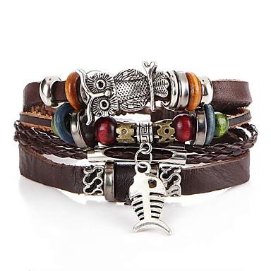 voordelige Herensieraden-Heren Lederen armbanden Gevlochten Vissen Uil Artistiek Uniek ontwerp PU Armband sieraden Bruin Voor Avond Feest Straat