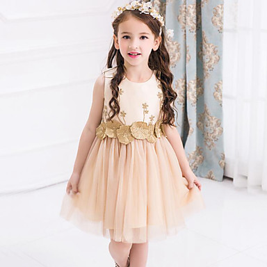 رخيصةأون ملابس الأميرات-فستان بدون كم شبكة / بقع ورد / بقع مناسب للحفلات حلو للفتيات أطفال