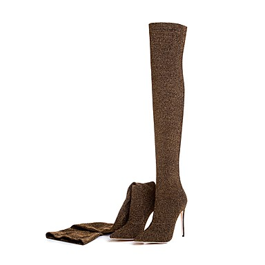 povoljno Ženske čizme-Žene Fashion Boots Elastična tkanina Jesen zima Klasik Čizme Stiletto potpetica Krakova Toe Bedro visoke čizme Šljokice Zelen / Lila-roza / Navy Plava / Vjenčanje / Zabava i večer