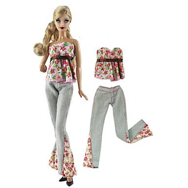 voordelige Poppenaccessoires-Pop Outfit Poppenbroek Broeken Tops 2 pcs Voor Barbie Modieus Roze en Groen Geweven stof Doek Katoenen Doek Top / Broeken Voor voor meisjes Speelgoedpop