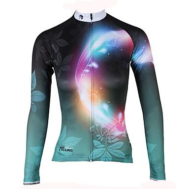 ILPALADINO Žene Dugih rukava Biciklistička majica Zelen Cvjetni / Botanički Bicikl Biciklistička majica Majice Ugrijati Podstava od flisa Ultraviolet Resistant Sportski Zima Elastan Runo Brdski