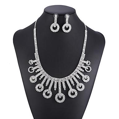 Žene Bijela Kristal Ogrlica Naušnice Set Teniski lanac Gypsophila Moda Naušnice Jewelry Pink Za Vjenčanje Party 1set