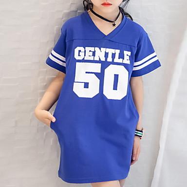 baratos Blusas para Meninas-Infantil Para Meninas Básico Geométrica Manga Curta Algodão Camiseta Azul