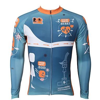 ILPALADINO Muškarci Dugih rukava Biciklistička majica Sky blue Bicikl Biciklistička majica Majice Ugrijati Podstava od flisa Ultraviolet Resistant Sportski Zima Elastan Runo Brdski biciklizam