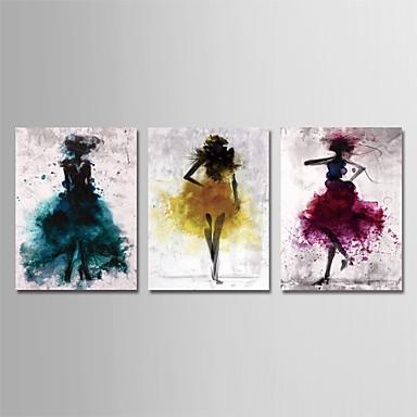 abordables Toiles-Imprimé Impression sur Toile - Abstrait Personnage Moderne Trois Panneaux Art Prints