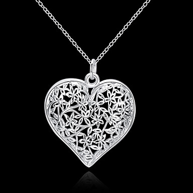 5f19d7bec3eb Women s Hollow Pendant Necklace S925 Sterling Silver Heart Love Ladies  Floral Fashion 3D Silver 45 cm Necklace Jewelry 1pc For Wedding Party Daily  Casual
