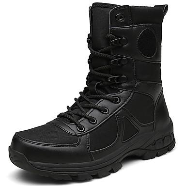 Homme Bottes de Combat Toile / Cuir Hiver Sportif / Bottes Rétro Bottes / Garder au chaud Bottes Mi-mollet Noir cea33f