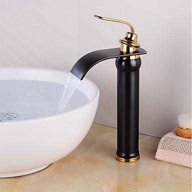 Kupaonica Sudoper pipa - Waterfall Golden / Crn Središnje pozicionirane Jedan Ručka jedna rupaBath Taps