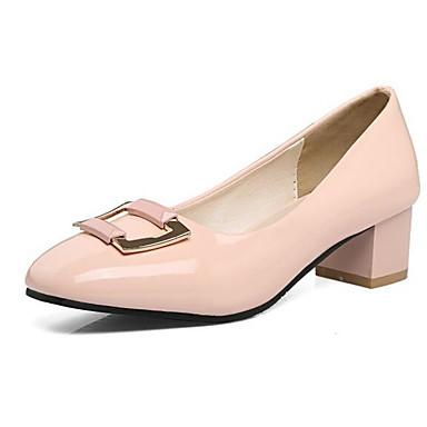 2019 Nuovo Stile Per Donna Scarpe Comfort Vernice Primavera Tacchi Quadrato Nero - Rosa - Tessuto Almond #06952289