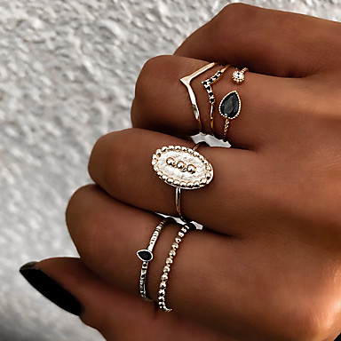 billige Motering-Dame Knokering Ring Set Multi-fingerring 6pcs Gull Sølv Harpiks Legering Oval damer Vintage Punk Gave Daglig Smykker Retro Sol Kul
