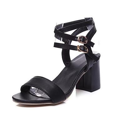 messieurs et mesdames 《 chaussures Été confort les femmes (polyuréthanne) Été chaussures sandales chunky talon blanc / noir 《 de matériaux de haute qualité 979491