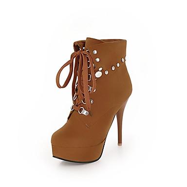Žene Fashion Boots Sintetika Jesen zima Čizme Stiletto potpetica Okrugli Toe Čizme gležnjače / do gležnja Zakovica Bež / Bijela / Burgundac