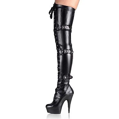 voordelige Dameslaarzen-Dames Fashion Boots PU Winter Klassiek Laarzen Naaldhak Ronde Teen Over de knie laarzen Gesp Zwart / Grijs / Feesten & Uitgaan