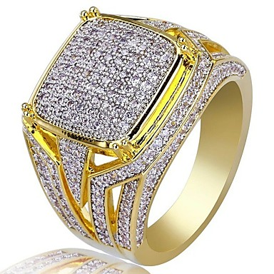 8d3886c79e Men's Cubic Zirconia Classic Ring Signet Ring Rhinestone Stylish Luxury Ring  Jewelry Gold For Wedding Party Gift Masquerade Engagement Party Prom 7 / 8  / 9 ...